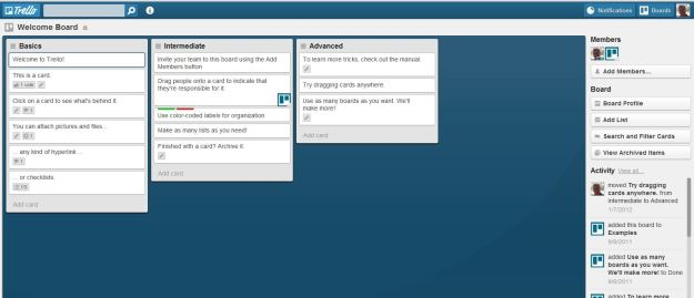 Screen grab of Trello